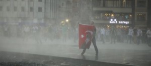 water cannon ataturk flag
